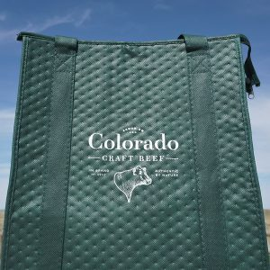 Colorado Craft Beef green Cooler Tote with the CCB logo