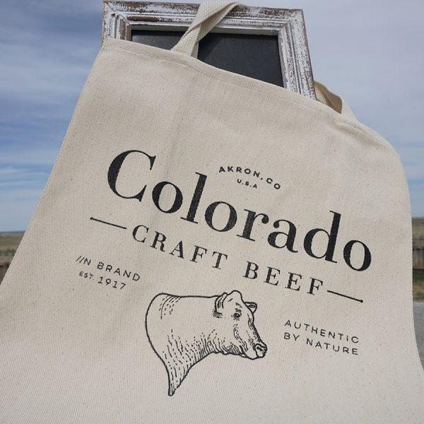 Colorado Craft Beef Grocery tote bag canvas with dark gray CCB logo