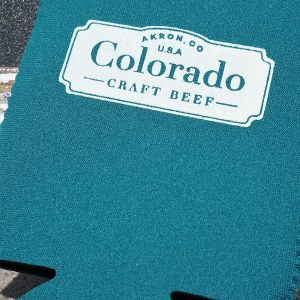 teal Colorado Craft Beef koozie
